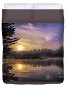 Vibrant Sunrise On The Androscoggin River Duvet Cover