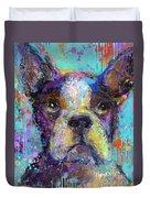 Vibrant Whimsical Boston Terrier Puppy Dog Painting Duvet Cover by Svetlana Novikova