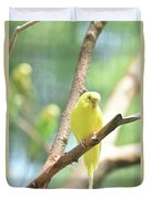 Vibrant Yellow Budgie Parakeet In The Summer Duvet Cover