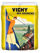 Vichy, Sport Tourism, Woman Play Golf Duvet Cover