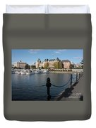Victoria Harbour With Railing Duvet Cover by Carol Groenen