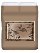 Victorian Birds In Sepia Duvet Cover