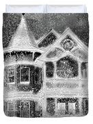 Victorian Christmas Black And White Duvet Cover