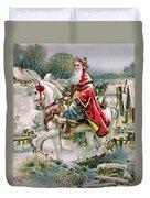 Victorian Christmas Card Depicting Saint Nicholas Duvet Cover