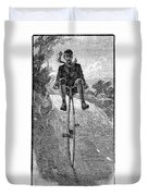 Victorian Gentleman On A Penny-farthing Duvet Cover