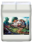 Victorian House With Gardens Duvet Cover