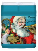 Victorian Illustration Of Santa Claus Holding Toys And Blowing On A Trumpet Duvet Cover