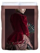 Victorian Lady In A Red Bussle Ensemble Duvet Cover