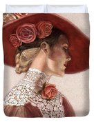 Victorian Lady In A Rose Hat Duvet Cover