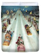Victorian Poster Of Night Sledding Duvet Cover