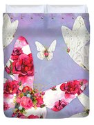 Victorian Wings, Fantasy Floral And Lace Butterflies Duvet Cover