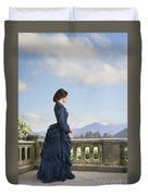 Victorian Woman In A Blue Dress Standing On The Terrace  Duvet Cover
