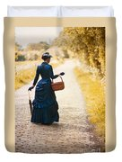 Victorian Woman With A Wicker Shopping Basket Duvet Cover