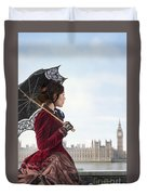 victorian woman with parasol in 19th century London  Duvet Cover