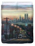 Victory Boulevard At Dawn Duvet Cover by Sarah Yuster