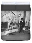 Viet Nam Vet John Dane With His Weapons Collection American Fork Utah 1975 Duvet Cover