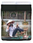 Vietnamese Lady Photographer At Tam Coc Duvet Cover
