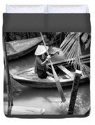 Vietnamese Woman Boat Ores Really For Tourist Mekong Delta  Duvet Cover