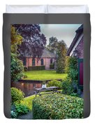 View At Old Church  In Dutch Village Duvet Cover