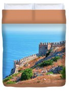 View Far Out To Sea From Alanya Castle Duvet Cover