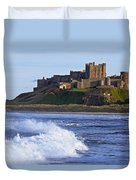 View From Ocean Of Bamburgh Castle Duvet Cover
