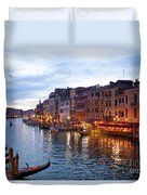 View From Rialto Bridge Of Venice By Night. Duvet Cover