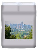 View From Wealthy Neighborhood In Hills Of Santiago-chile Duvet Cover