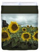View Of A Field Of Sunflowers Duvet Cover
