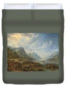 View Of A River With Boat Moorings Duvet Cover