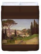 View Of A Villa Duvet Cover by Jean Achille Benouville