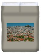 View Of Athens, Greece, From The Parthenon Duvet Cover