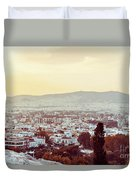 view of Buildings around Athens city, Greece Duvet Cover