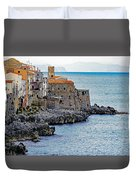 View Of Cefalu Sicily Duvet Cover