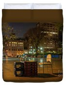 View Of Chess Board In The Middle Of Busy Sidewalk At Night Duvet Cover