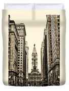 View Of Cityhall From Broad Street In Philadelphia Duvet Cover