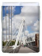 View Of Golden Jubilee Bridge, Thames Duvet Cover