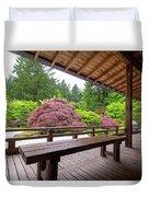 View Of Japanese Garden From The Veranda Duvet Cover