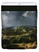 View Of Jerusalem From The Valley Of Jehoshaphat Duvet Cover by Auguste Forbin