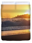 View Of Large Fishing Boat From The Beach At Sunset Duvet Cover