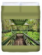 View Of Lily Pads From Gazebo By Kaye Menner Duvet Cover