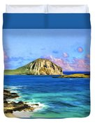 View Of Makapuu And Rabbit Island Duvet Cover