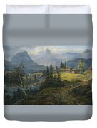 View Of Oylo Farm, Valdres Duvet Cover