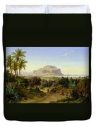View Of Palermo With Mount Pellegrino Duvet Cover by August Wilhelm Julius Ahlborn