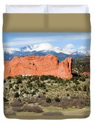 View Of Pikes Peak And Garden Of The Gods Park In Colorado Springs In Th Duvet Cover
