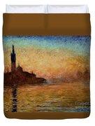 View Of San Giorgio Maggiore Venice By Twilight Duvet Cover by Claude Monet