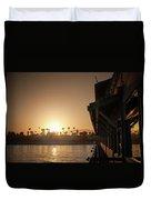 View Of Setting Sun Over Santa Barbara, Ca Duvet Cover
