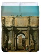 View Of The Arch Of Constantine With The Colosseum Duvet Cover