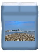 View Of The Battleship New Jersey From Philadelphia Duvet Cover