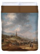 View Of The Beach At Scheveling Duvet Cover