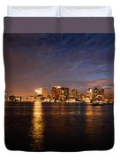 View Of The Boston Waterfront At Night Duvet Cover